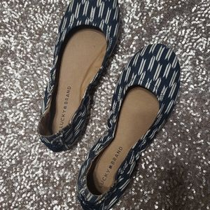Navy and White Emmie Flats